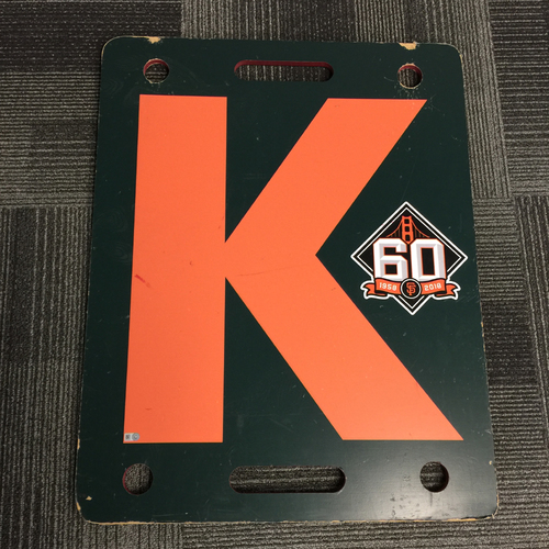 Photo of 2018 San Francisco Giants - Orange K Board - Steven Okert Strikes Out Javy Guerra