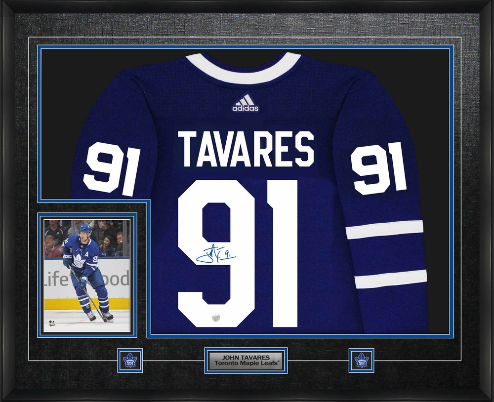John Tavares Signed Jersey Framed Pro Adidas Toronto Maple Leafs Blue w Action 8x10