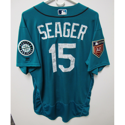 Photo of Seattle Mariners Kyle Seager Team Issued 2018 Spring Training Green Jersey