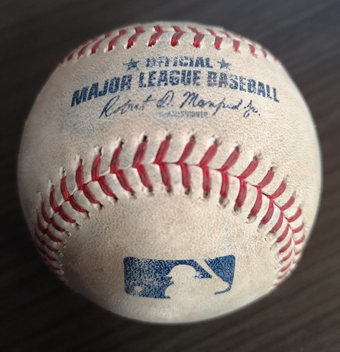 Photo of Authenticated Game Used Baseball (MLB Debut for Vladimir Guerrero Jr.): Strikeout by Marcus Stroman against Khris Davis (Apr. 26, 19 vs OAK). Top 7.