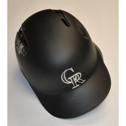 "Photo of Yency ""SHOWTIME"" Almonte Colorado Rockies Team Issued 2019 Players' Weekend Helmet"