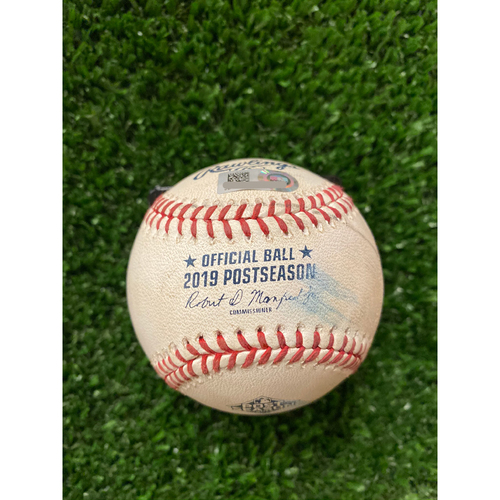 Photo of Game Used Baseball - Pitcher: Miles Mikolas, Batter: Ronald Acuna Jr., Foul - 10/3/2019 NLDS Game 1