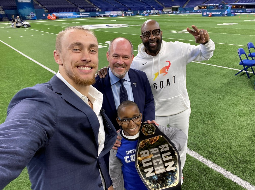 2020 Run Rich Run NFL Scouting Combine Championship Belt.  Signed by George Kittle, Jerry Rice, Deion Sanders, Rich Eisen & St. Jude patient, Von - Auction benefits St. Jude Children's Research Hospital