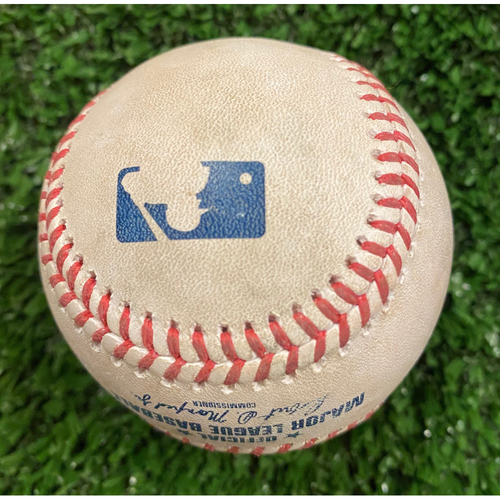 Travis d'Arnaud Game Used Hit Single Baseball, Luis Castillo pitched - October 1, 2020 - Wild Card Game 2