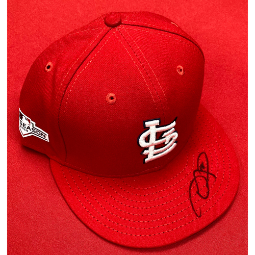 Photo of Dexter Fowler Autographed Team-Issued Home Cap w/ 2019 Postseason Patch (Size 7 3/8)