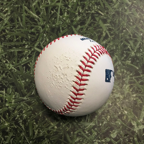 Photo of Batting Practice Used Baseball 05/01/21 - Baseball Hit Over Fence by Christian Yelich During Batting Practice