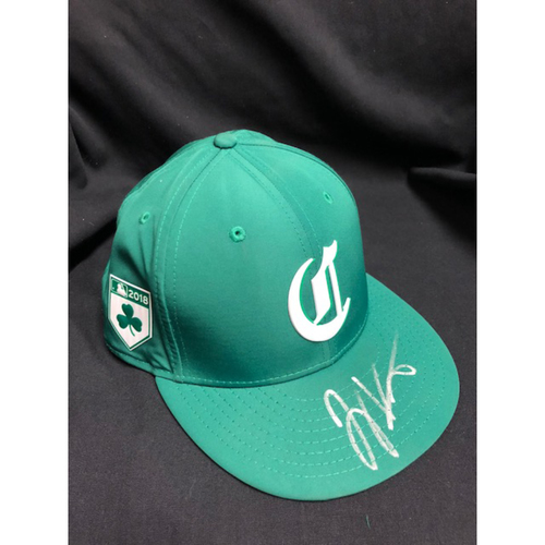 Photo of Joey Votto -- Autographed -- Reds St. Patrick's Day Cap -- Game-Used