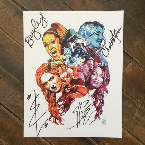 Photo of Sasha Banks, Charlotte Flair, Bayley, & Becky Lynch SIGNED 11 x 14 Rob Schamberger Print