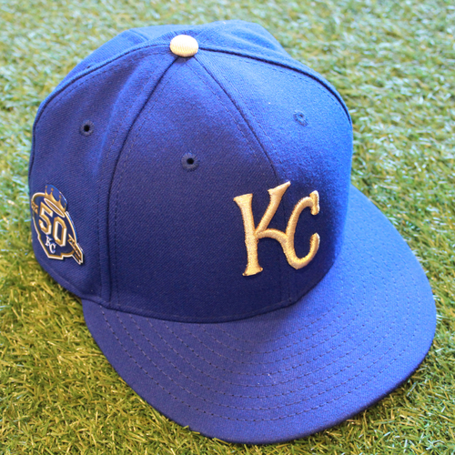 Photo of Game-Used Cap: Hunter Dozier (Size 7 3/8 - CLE @ KC - 9/28/18)