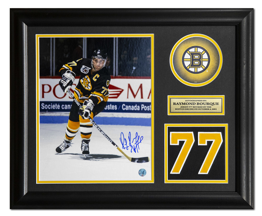Raymond Bourque Boston Bruins Signed Retired Jersey Number 23x19 Frame