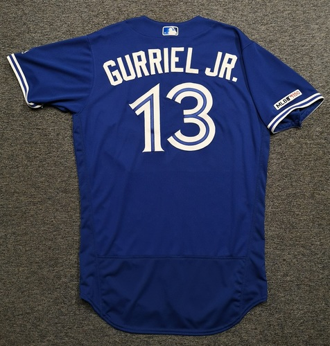 Photo of Authenticated Game Used Jersey: #13 Lourdes Gurriel Jr. (Sept 14, 19 vs NYY: 2-for-3 with 1 Double). Size 44.