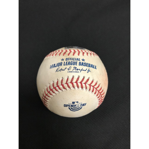 Photo of Game-Used Baseball, 7/30/20 Los Angeles Dodgers at Arizona Diamondbacks: Robbie Ray vs. Will Smith (Walk) and Mookie Betts (Called Strike, Ball, Foul). Baseball features the Opening Day logo.