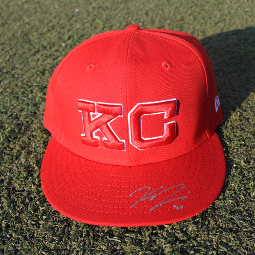 Photo of Autographed/Game-Used Monarchs Cap: Kris Bubic #50 (STL @ KC 9/22/20)