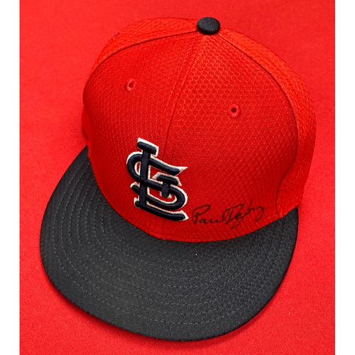 Photo of Paul DeJong Autographed Team-Issued Batting Practice Cap (Size 7 1/4)