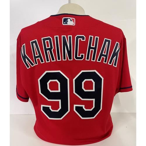 Photo of Game Used Jersey - James Karinchak #99 - Cubs at Indians - 5/12/2021 - Size 44
