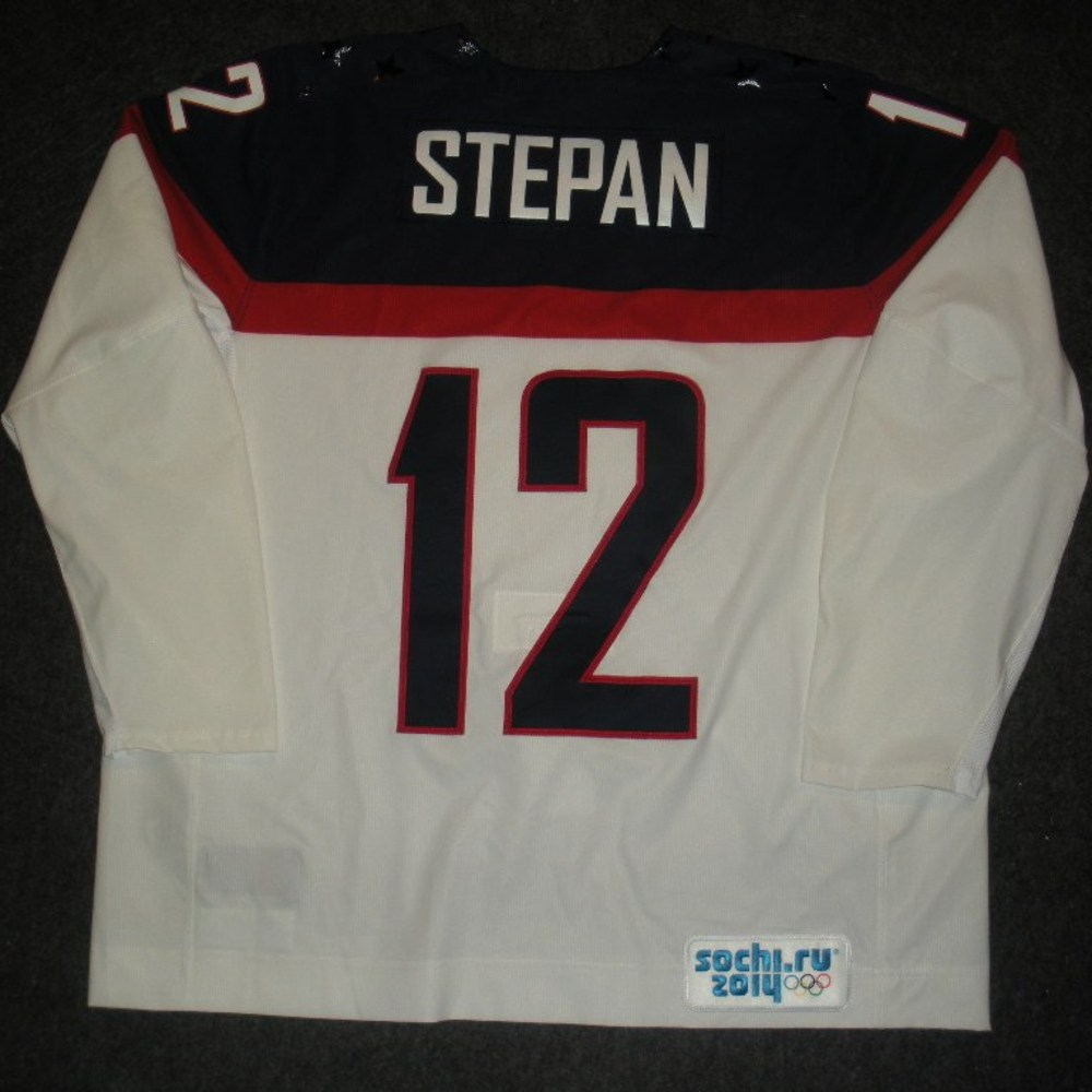 Derek Stepan - Sochi 2014 - Winter Olympic Games - Team USA White Game-Issued Jersey - 2nd and 3rd Periods vs. Slovakia, 2/13/14