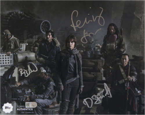 Multi-Signed IN SILVER INK 8x10 Photo of Felicity Jones as Jyn Erso,  Donnie Yen as Chirrut ÎMWE, and Riz Ahmed as Bodhi Rook