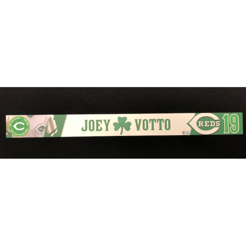 Photo of Joey Votto -- Reds 40th Anniversary St. Patrick's Day Locker Name Placard -- Game-Used