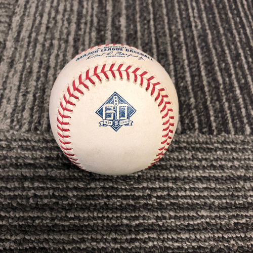 Photo of San Francisco Giants - 2018 Game Used Baseball - 9/28/18 vs. Los Angeles Dodgers - T-9: Hunter Strickland to Yasmani Grandal - Double to RF