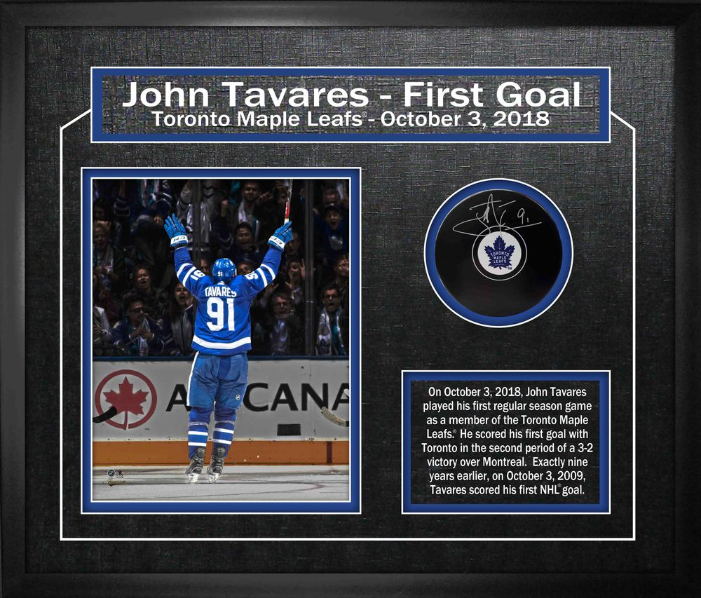 John Tavares Signed Puck Framed Toronto Maple Leafs First Goal