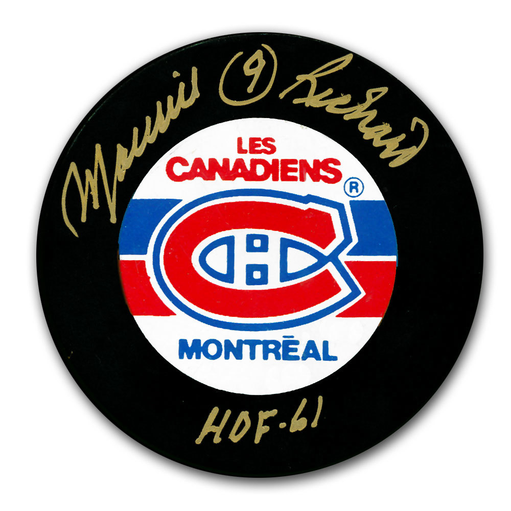 Maurice Richard Montreal Canadiens HOF Autographed Puck