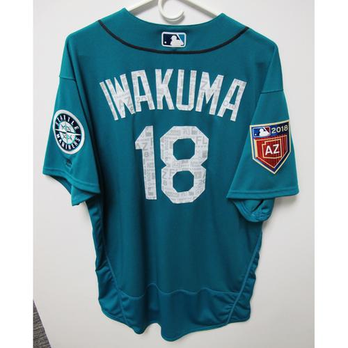 Photo of Seattle Mariners Hisashi Iwakuma Team Issued 2018 Spring Training Green Jersey