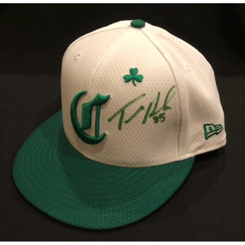 Photo of Tanner Roark -- Autographed & Game-Used Cap -- 2019 St. Patrick's Day