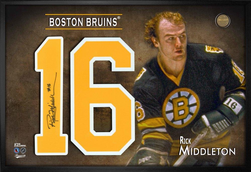 Rick Middleton Signed Jersey Number Framed Print Bruins Black-H
