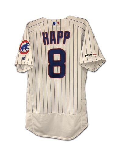 Photo of Ian Happ Game-Used Jersey -- 7th Inning Pinch-Hit Home Run (1st HR of Season) -- Athletics vs. Cubs -- 8/5/19