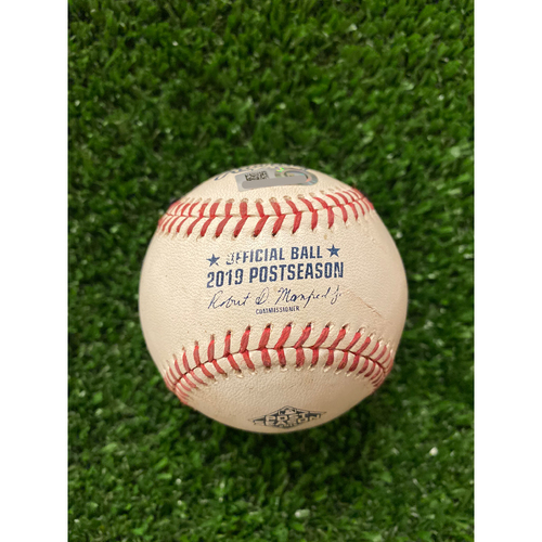 Photo of Game Used Baseball - Pitcher: Miles Mikolas, Batter: Ozzie Albies, Ball in Dirt - 10/3/2019 NLDS Game 1
