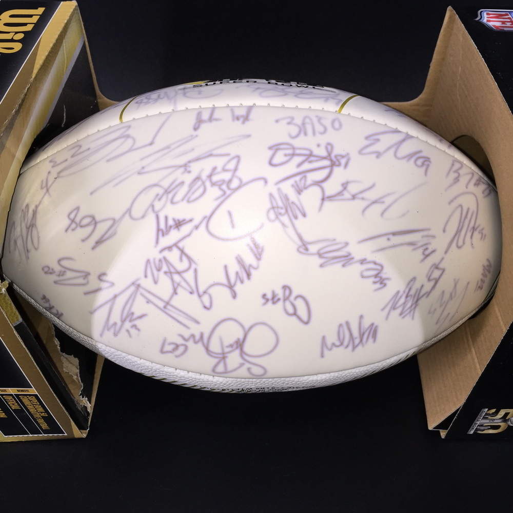 NFL - Broncos Team Signed Super Bowl 50 Panel Ball Signed By Over 50 Players Including Peyton Manning, Von Miller, Demarcus Ware