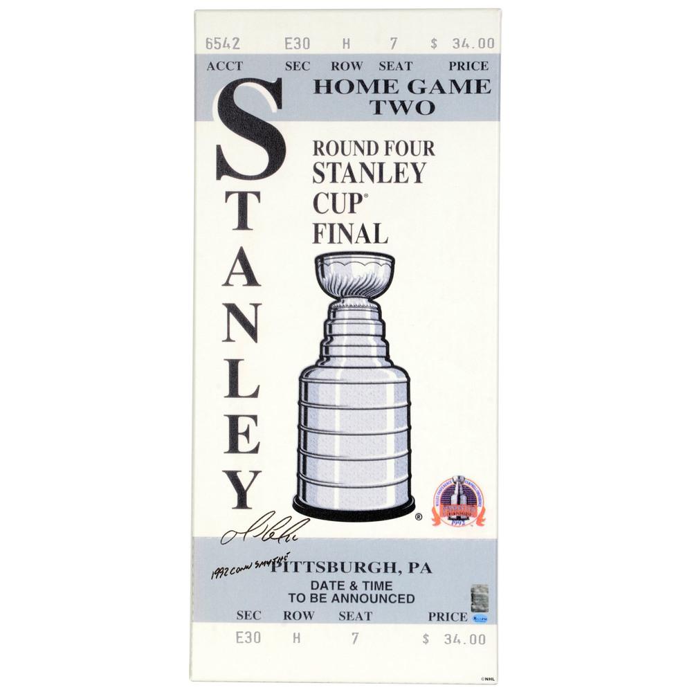 Mario Lemieux Pittsburgh Penguins Autographed 1992 Stanley Cup Finals Mega Ticket with 1992 Conn Smythe Inscription