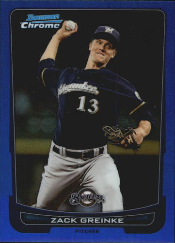 Photo of 2012 Bowman Chrome Blue Refractors #27 143/250 Zack Greinke