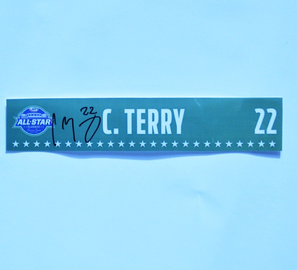 2018 AHL All-Star Classic Locker Room Nameplate Used and Signed by #22 Chris Terry