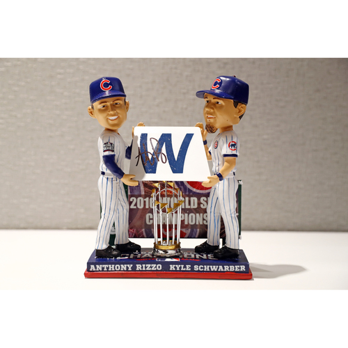 Photo of Chicago Cubs Anthony Rizzo & Kyle Schwarber Limited Edition Autographed 'Fly the W' Bobblehead - Autographed by Rizzo only