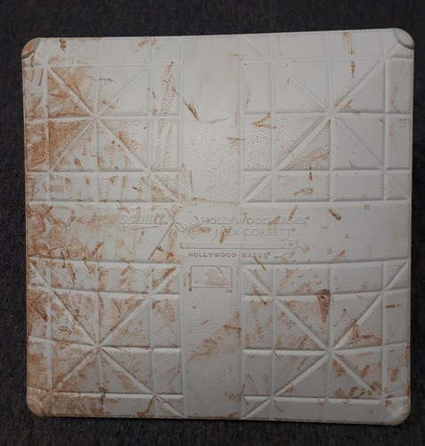Photo of Authenticated Game Used Base - 1st Base for Innings 7 to 9 (May 8, 2018). Last Out recorded at 1st Base for James Paxton's No Hitter.