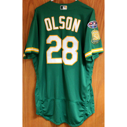 Team Issued Matt Olson 2018 Jersey w/ Postseason Patch