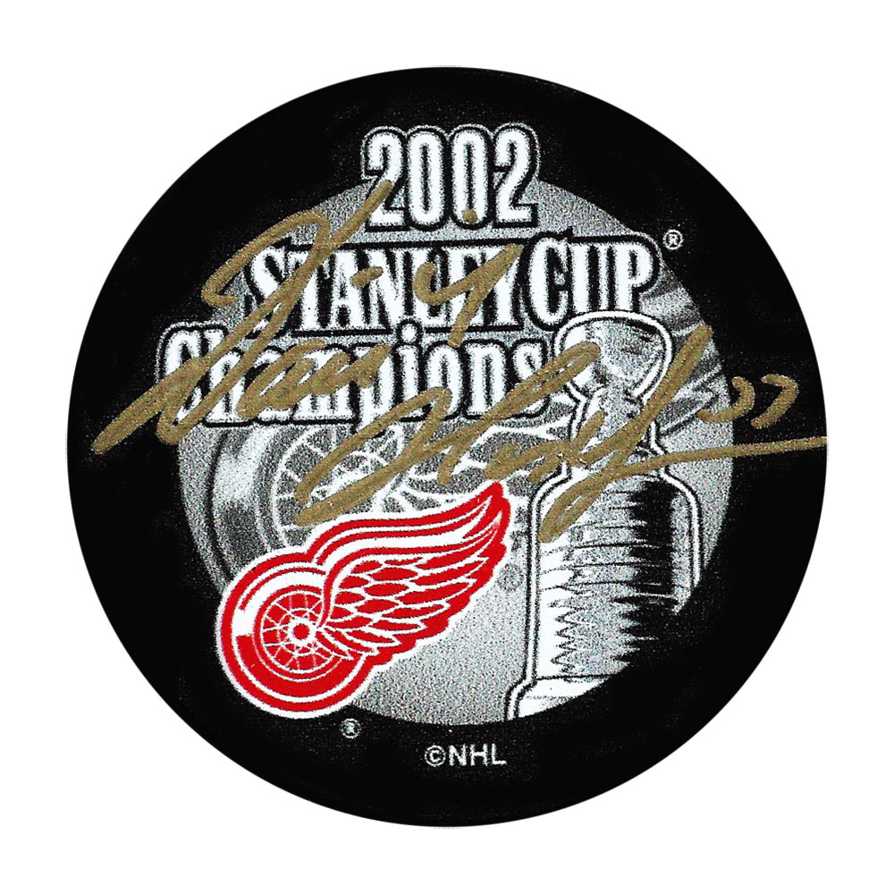 Dominik Hasek Autographed Detroit Red Wings 2002 Stanley Cup Champions Puck