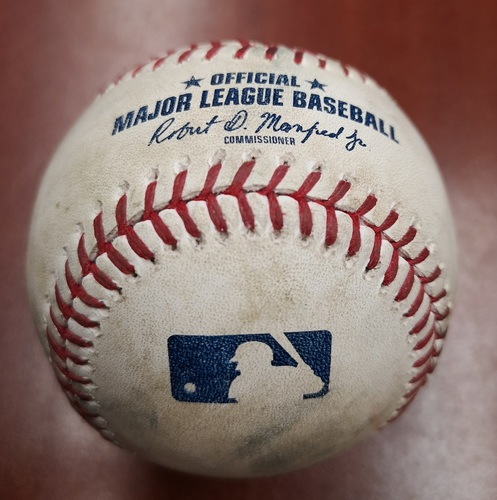 Photo of Authenticated Game Used Baseball - April 1, 2019 vs Orioles: David Hess Strikes Out Brandon Drury (B4). Hess threw 6.1 No Hit Innings.