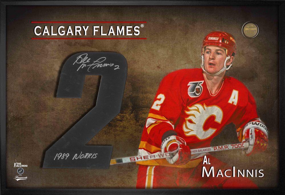 Al MacInnis Signed Jersey Number Framed Print Flames Red Insc.1989 Norris