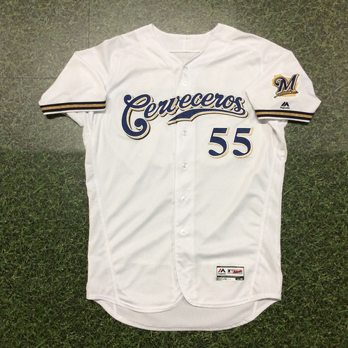 Photo of Marcus Hanel 2019 Game-Used Cerveceros Jersey