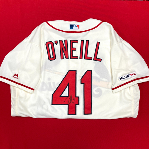 Photo of Tyler O'Neill Autographed Team-Issued Home Alternate Jersey (Size 46)