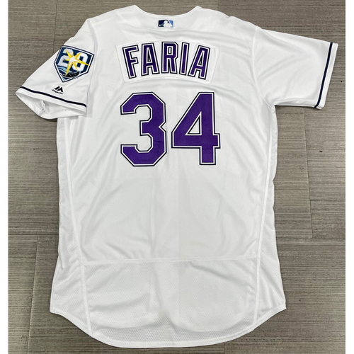 Photo of Game Used Devil Rays Jersey: Jake Faria - 2 Games (See Description for Details)
