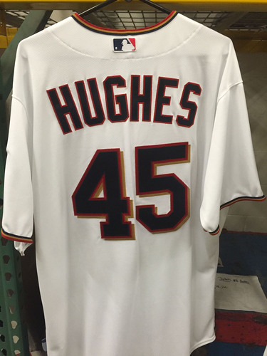 Phil Hughes #45 - 2015 Team-Issued Home white Jersey