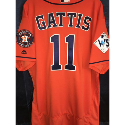 Photo of 2017 World Series Team-Issued Evan Gattis Orange Alternate Jersey