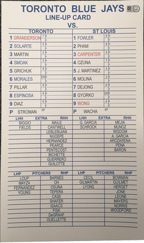 Photo of Authenticated Replica Lineup Card - March 26, 2018 vs St. Louis Cardinals: Vladimir Guerrero Jr. plays in Montreal Spring Training Exhibition