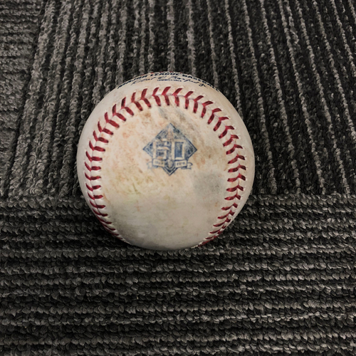 Photo of San Francisco Giants - 2018 Game Used Baseball - 9/29/18 vs. Los Angeles Dodgers - T-5: Ty Blach to Cody Bellinger - Reaches First on Fielding Error. Prev. Manny Machado Grounds Out to First Base