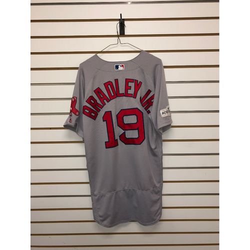 Photo of Jackie Bradley Jr Game-Used October 5, 2017 Road Jersey