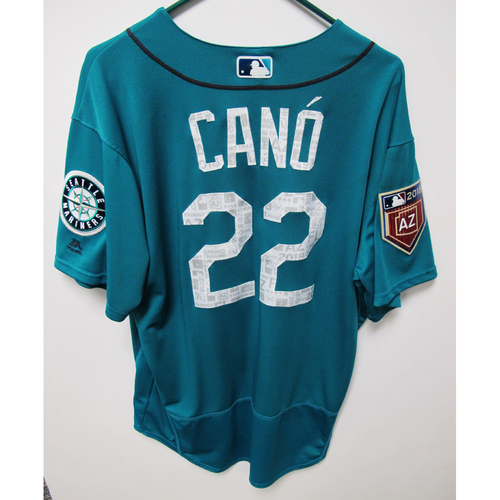 Photo of Seattle Mariners Robinson Cano Team Issued 2018 Spring Training Green Jersey