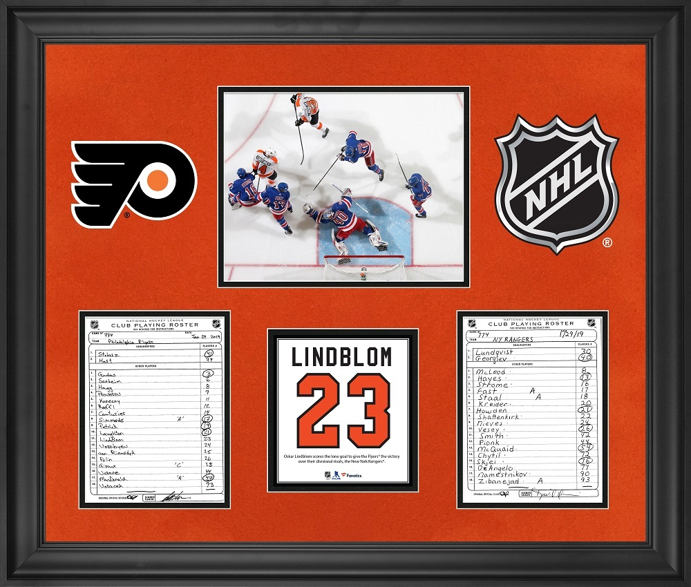 Philadelphia Flyers Framed Original Line-Up Cards from January 29, 2019 vs. New York Rangers - Oskar Lindblom Scores Lone Goal in Win